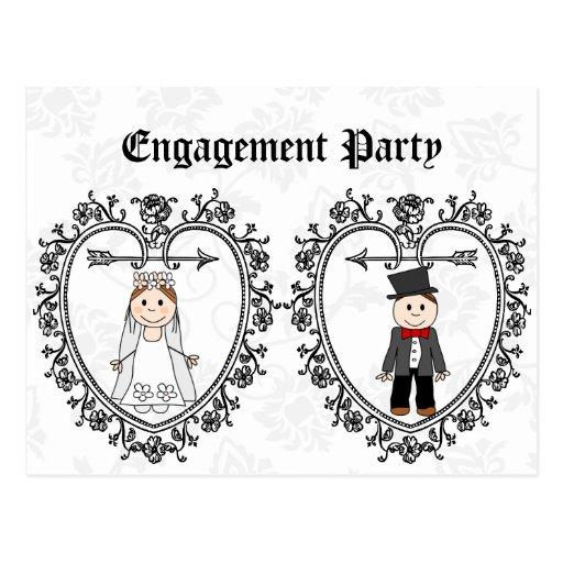 casamento, convite da festa de noivado cartoes postais