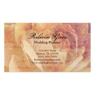 Casamento cor-de-rosa afligido do vintage botânico cartão de visita