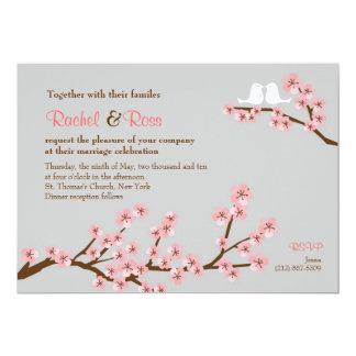 Casamento cor-de-rosa & cinzento do primavera da convite 12.7 x 17.78cm