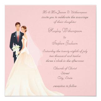 Casamento cor-de-rosa da noiva & do noivo, da convites