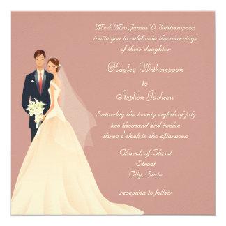 Casamento cor-de-rosa da noiva & do noivo, da convites personalizado
