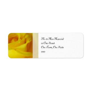 Casamento cor-de-rosa de incandescência do amarelo etiqueta endereço de retorno