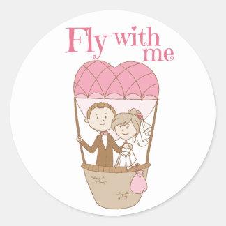 Casamento cor-de-rosa do balão de ar quente de adesivo