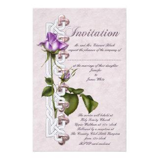 Casamento cor-de-rosa do céltico papeis personalizados