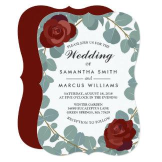 Casamento cor-de-rosa do eucalipto das hortaliças convite 12.7 x 17.78cm