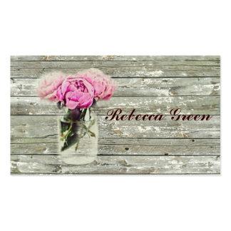 casamento cor-de-rosa do frasco de pedreiro do paí cartão de visita