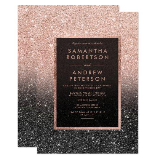 Casamento cor-de-rosa do ombre do quadro do brilho convite 12.7 x 17.78cm