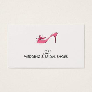Casamento cor-de-rosa dos calçados da bomba das cartão de visitas