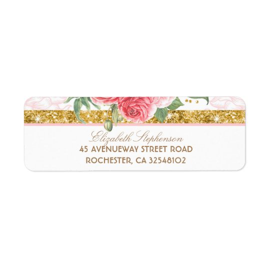 Casamento cor-de-rosa floral do vintage do encanto etiqueta endereço de retorno