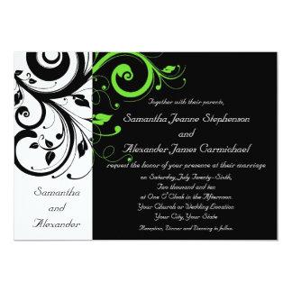 Casamento corajoso preto/do branco/verde limão convites personalizados