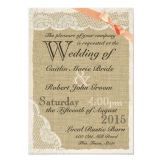Casamento coral do país do arco do laço antigo convite 12.7 x 17.78cm