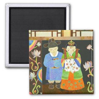 Casamento coreano tradicional: Presente de Ímã Quadrado