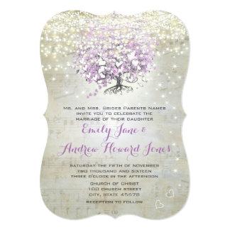 Casamento da árvore da folha do coração da lavanda convite 12.7 x 17.78cm