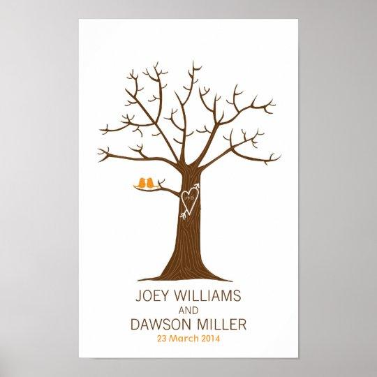 Casamento da árvore da impressão digital (branco)