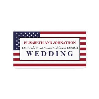 Casamento da bandeira americana etiqueta de endereço
