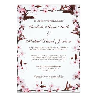 Casamento da beira das flores de cerejeira convite 12.7 x 17.78cm
