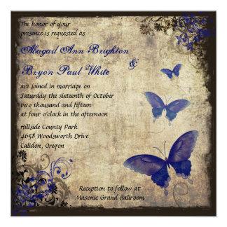 Casamento da borboleta do vintage dos azuis convite personalizado