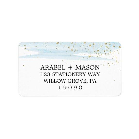 Casamento da faísca do azul e do ouro da aguarela etiqueta de endereço