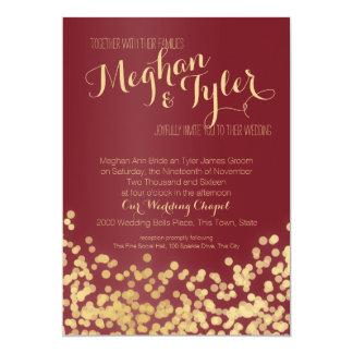 Casamento da faísca do vinho e do ouro convite 12.7 x 17.78cm
