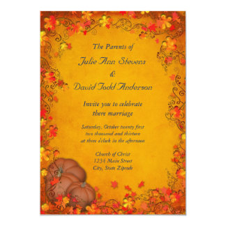 Casamento da felicidade do outono convite 12.7 x 17.78cm