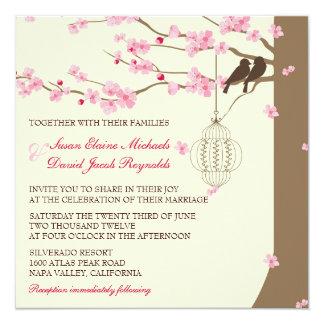 Casamento da flor de cerejeira da gaiola do convite quadrado 13.35 x 13.35cm