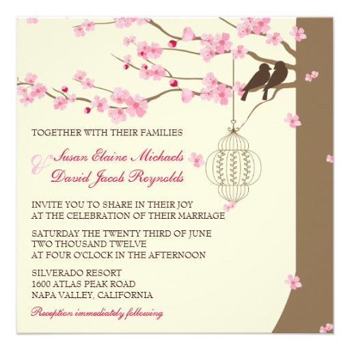 Casamento da flor de cerejeira da gaiola do vintag convites personalizado