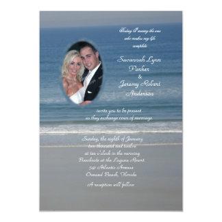 Casamento da foto do amor do oceano convite 12.7 x 17.78cm