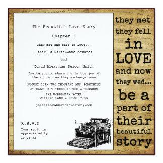 Casamento da máquina de escrever do vintage do convite quadrado 13.35 x 13.35cm