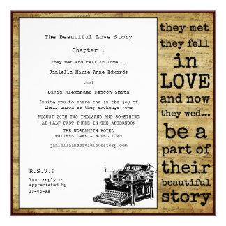 Casamento da máquina de escrever do vintage do esc convites personalizado
