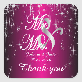 Casamento da noite estrelado no rosa quente adesivo quadrado