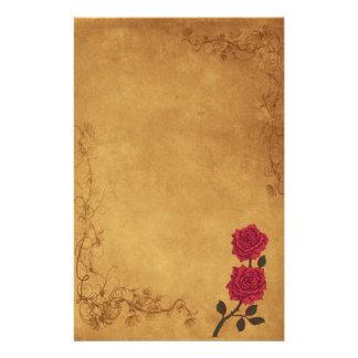 Casamento da rosa vermelha do vintage papelaria