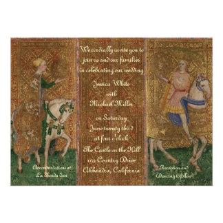 Casamento da senhora e do cavaleiro do renasciment convite personalizado