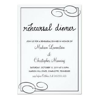Casamento da tipografia do jantar de ensaio da convite 12.7 x 17.78cm