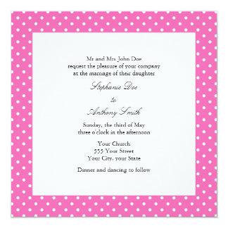 Casamento das bolinhas do rosa quente e do branco convite quadrado 13.35 x 13.35cm
