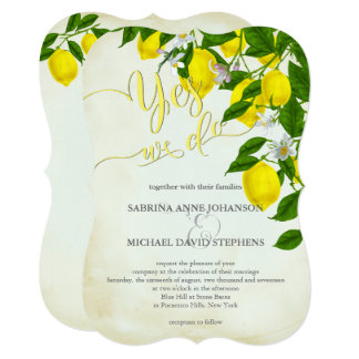 Casamento das flores e das hortaliças dos limões convite 12.7 x 17.78cm