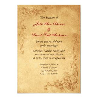 Casamento de Brown do caramelo do vintage Convite 12.7 X 17.78cm