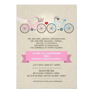Casamento de linho da bicicleta do rosa do estilo convites personalizado