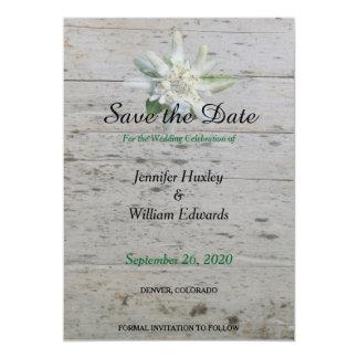 Casamento de madeira do celeiro alpino floral da convite 12.7 x 17.78cm