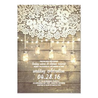 Casamento de madeira do laço rústico das luzes dos convite 12.7 x 17.78cm