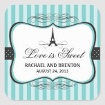 Casamento de Paris da torre Eiffel Adesivo Quadrado