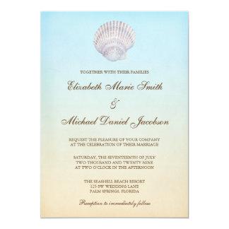 Casamento de praia tropical do Seashell Convite 12.7 X 17.78cm