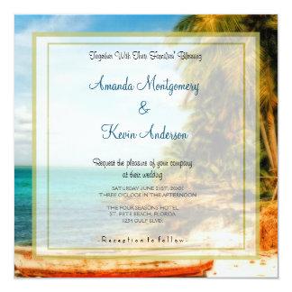 Casamento de praia tropical sonhador convite quadrado 13.35 x 13.35cm