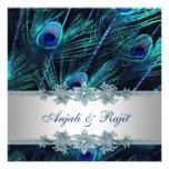 Casamento de prata do pavão dos azuis marinhos dos convites