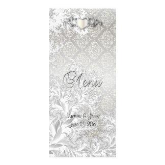 Casamento de prata elegante do estilo do damasco 10.16 x 22.86cm panfleto
