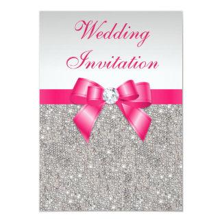 Casamento de prata impresso do arco do rosa quente convite 12.7 x 17.78cm