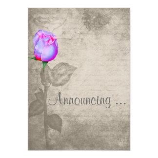 Casamento do botão do rosa da cor de ponto do convite 12.7 x 17.78cm