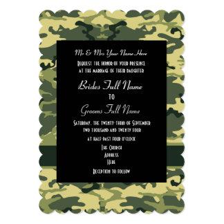 Casamento do campónio do camo do exército convite 12.7 x 17.78cm