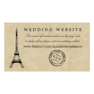 Casamento do carimbo postal de Paris da torre Cartão De Visita
