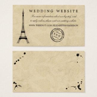 Casamento do carimbo postal de Paris da torre Cartão De Visitas