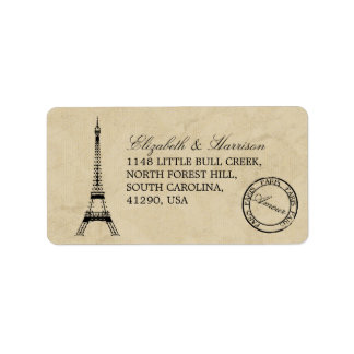 Casamento do carimbo postal de Paris da torre Etiqueta De Endereço